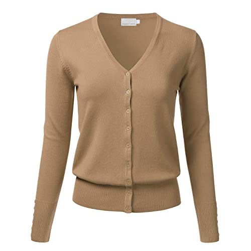 d95e001d6d89aa FLORIA Women's Button Down V-Neck Long Sleeve Soft Knit Cardigan Sweater (S-