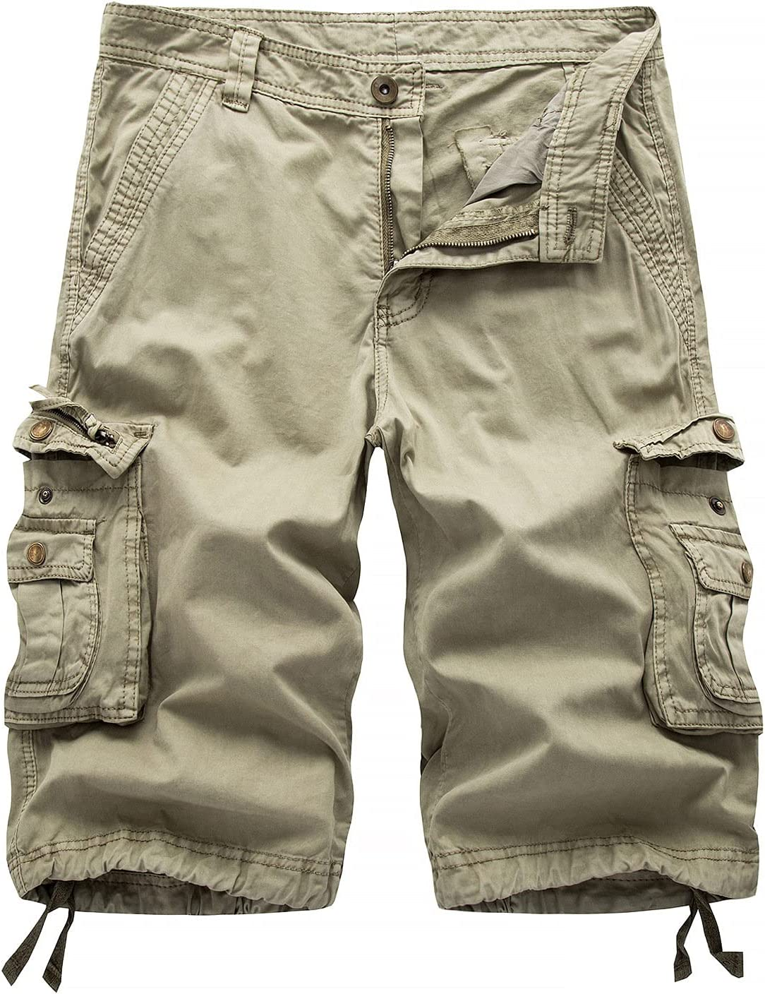 Outdoor Twill Cargo Shorts for Men Casual Summer Lightweight Outdoor Shorts Relaxed Fit Stretchy Multi-Pocket Shorts (Khaki,34)