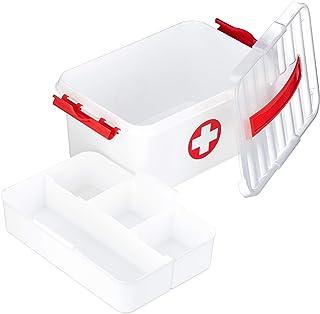 Relaxdays Medicinsk låda, brickor, första hjälpen box för medicinförvaring, plast, HBT: 21 x 30 x 14,5 cm, vit