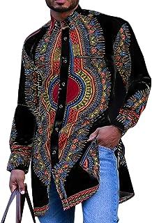 Moda para Hombre Camisas de Estilo Nacional Retro Camisa Dividida de Solapa de Longitud Media Camisa Africana Dashiki