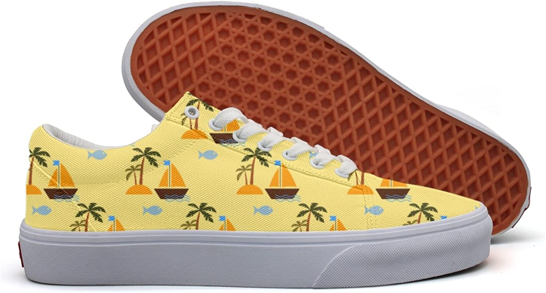 Charmarm Desert Island And Sailing Ship Women Beatiful Low Top Canvas Walking shoes