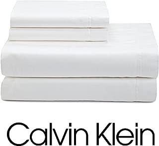Calvin Klein 4pc QUEEN Sheet Set 100% Combed Cotton Sateen, Solid White