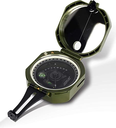 AOFAR Military Compass Lensatic Sighting- Fluorescent, Waterproof and Shakeproof with Map Measurer Distance Calculato...