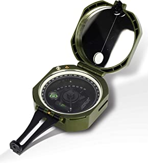AOFAR Military Compass Lensatic Sighting- Fluorescent, Waterproof and Shakeproof with Map Measurer Distance Calculator, Po...