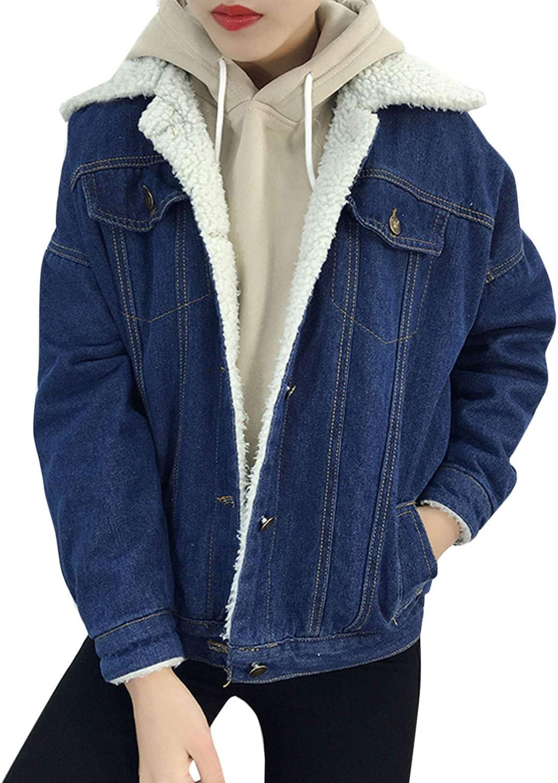 Flygo Women Thick Warm Sherpa Fleece Lined Button Down Denim Trucker Jacket Jean Coat
