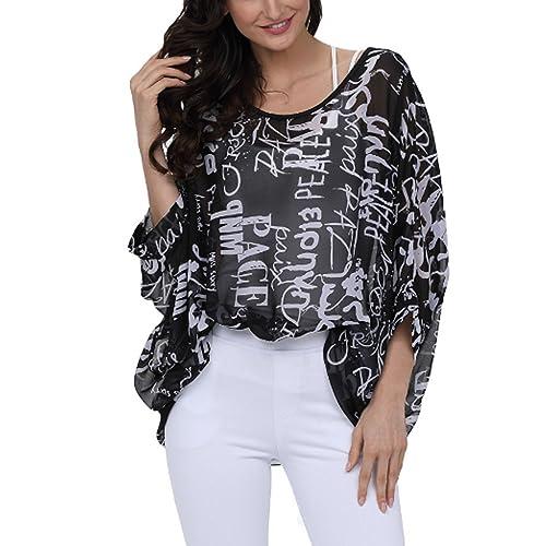 638ebb36768f3 JLTPH Women Batwing Chiffon Shirt Bohemian Floral Semi Sheer Loose Blouse  Tunic Tops