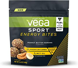 Vega Sport Energy Bites Peanut Butter Banana (4 Servings, 5.6oz) - Vegan Plant Based Workout Fuel With MCT Oil, Dates, Oats & More - Non Gmo, Non Dairy, Non Soy