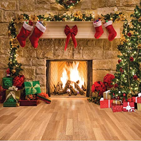10x10ft Vinyl Backdrop Photography Background New Year Christmas Decorated Tree Toys Hobby Horse Gifts Ancient Clock Scene Children Portraits Backdrop TV Video Shoot Backdrop Studio Props