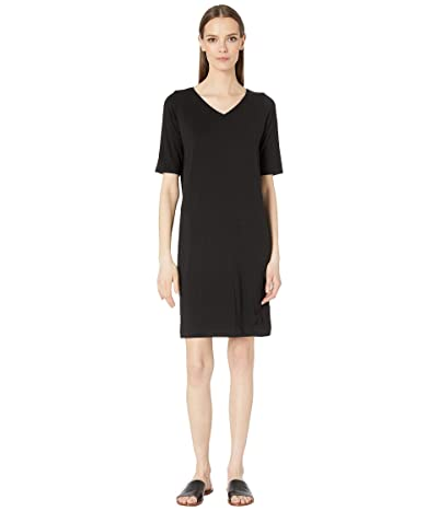 Eileen Fisher V-Neck Shift Dress (Black) Women