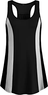 VAFOLY Women's 2019 Summer Sleeveless Round Neck Mesh Pleated Front Tank Tops Double Layers Tunic Tops
