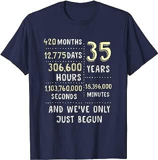 35 Years Wedding Anniversary (Coral, Jade) T-Shirt