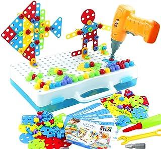 Juguetes Niños Montessori Puzzle 3D - Puzzles Mosaicos Juguete de Construcción con Rejilla y Taladro Eléctrico Caja de Her...
