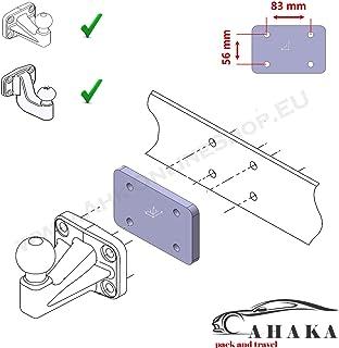 Distanzplatte Distanzblech 12 mm für Anhängerkupplung Flanschkugel Anhängebock 83 x 56 mm/Abstandsblech zur Versetzung der Flanschkugel Einer Anhängerkupplung um 12 mm