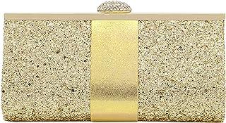 MEGAUK Damen Glitzer Clutch Unterarmtasche mit Abnehmbare Kette für Hochzeit Wedding Ball Bankett Prom Party, Glitzer Gold