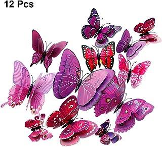 Murales mariposas 3d Style para decoración de pared 12 unidades en el set-amarillo nuevo