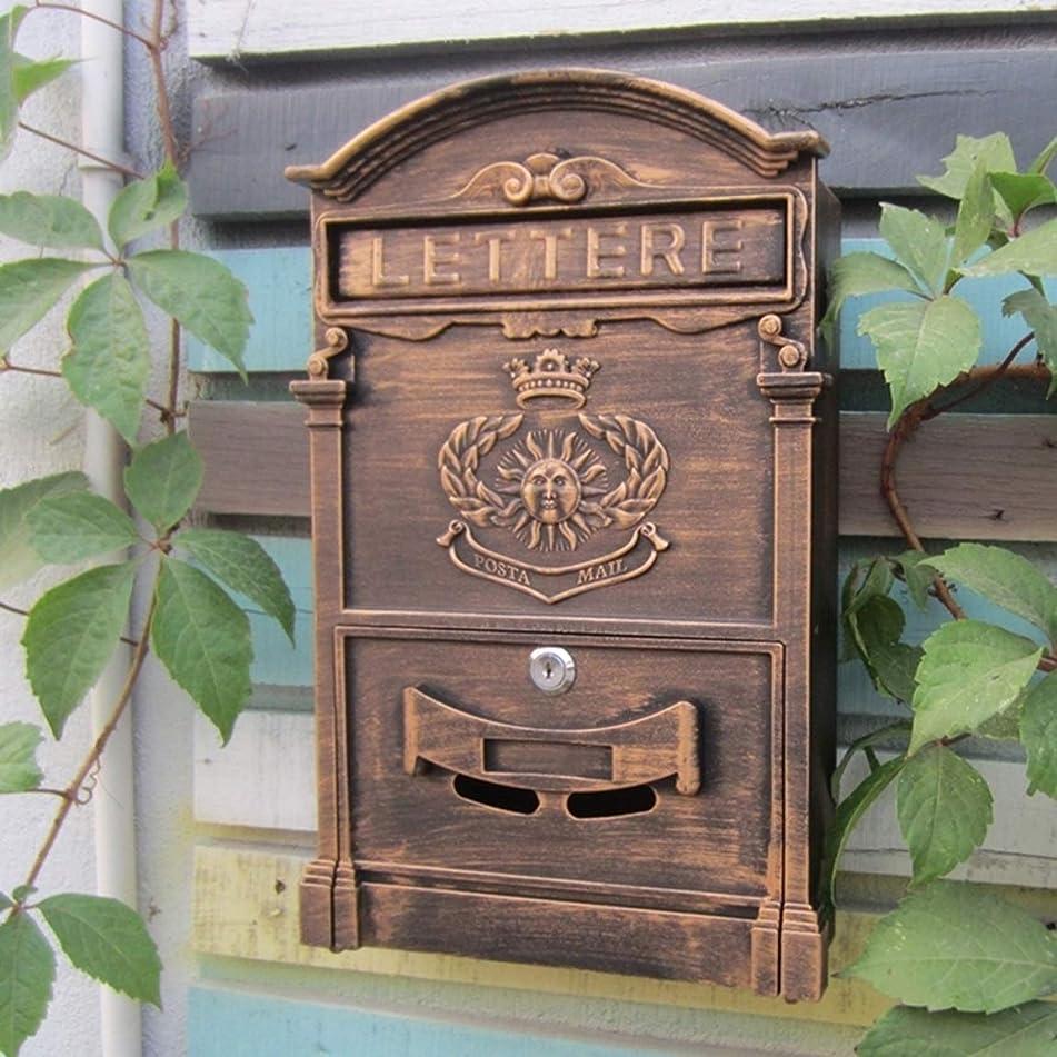 考案する脳告発者ヨーロッパのメールボックス屋外壁掛けポストボックス防水新聞ボックス模造古代の金 屋外セキュリティメールボックス