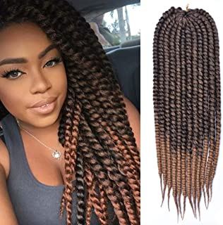 DAIRESS (5 Packs) Havana Mambo Twist Crochet Braids 24Inches 12Stands Synthetic Senegalese Twist Crochet Hair Extensions Kanekalon Ombre Crochet Twist Braiding Hair (#1B/30)