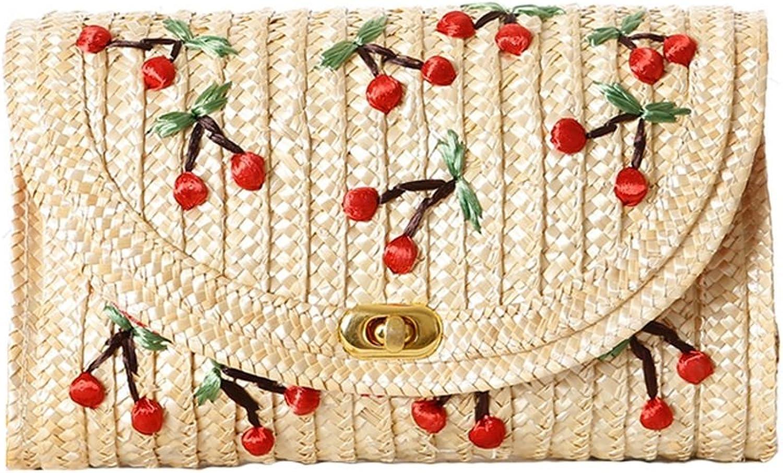 ZCM Stroh Tasche Dame Cute Persönlichkeit Manuelle Dreidimensionale Stickerei Woven Strand Casual Handtasche- (2 Farben Optional) B07DVJ6N1Q