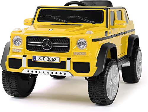 JOYLDIAS 12V Kids Ride OnCar Licensed Mercedes-Benz G650S Electric Cars Motorized Vehicles w/2.4 GHz Bluetooth, Parent Control, LED Lights, MP3 Player, PU Leather Seat, Yellow