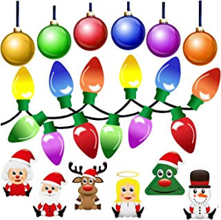 42 Pack Christmas Car Magnets Decal Decorations - Reflective Automotive Accessories including Lightbulb Santa Reindeer Sno...