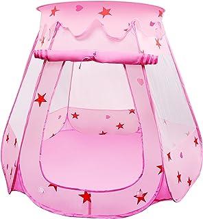 comprar comparacion BelleStyle Tienda de Juegos para Niños, Pop Up Princesa Piscina de Bolas Castillo Plegable para Niños en Interiores y Exte...