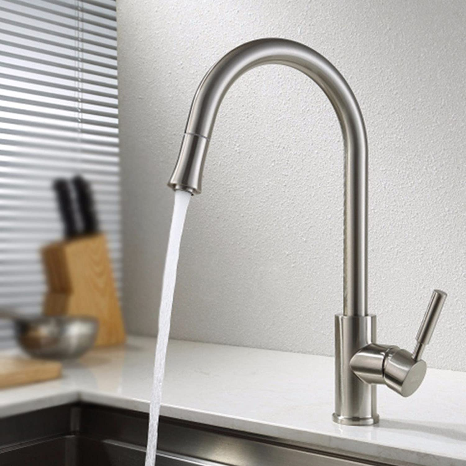 Hlluya Professional Sink Mixer Tap Kitchen Faucet Hot and cold, and can be redated, Stainless Steel Sinks Faucets,G