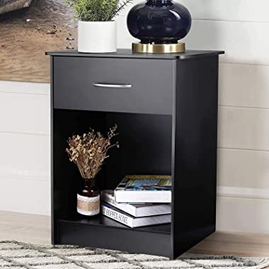 TUSY Black Nightstand with Drawers, End Table Bedroom Side Tables Bedside Cabinets, File Cabinet Storage with Sliding Drawer