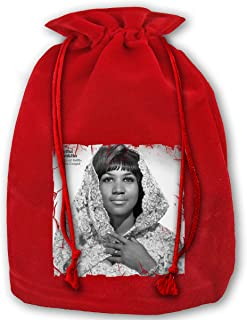 JiuLofg Aretha Franklin Precious Lord, Part Santa Sacks Velvet Bags with Drawstring,Large Christmas Bag Santa Bags for Kids Storage Bag - 13.78 X 17.71 Inch/35x45cm