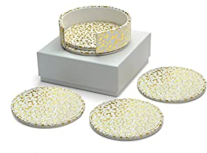 Diamondspun Absorbent Coasters with Holder and Foam Padded Storage Box, White