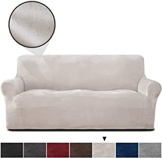 RHF Velvet-Sofa Slipcover, Stretch Couch Covers for 3 Cushion Couch-Couch Covers for Sofa-Sofa Covers for Living Room,Couch Covers for Dogs, Sofa Slipcover,Couch slipcover(Beige-Sofa)