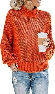 Glamaker Women's Warm Oversized Turtleneck Pullover Sweaters Batwing Long Sleeve Loose Chunky Knit Jumper Orange Medium