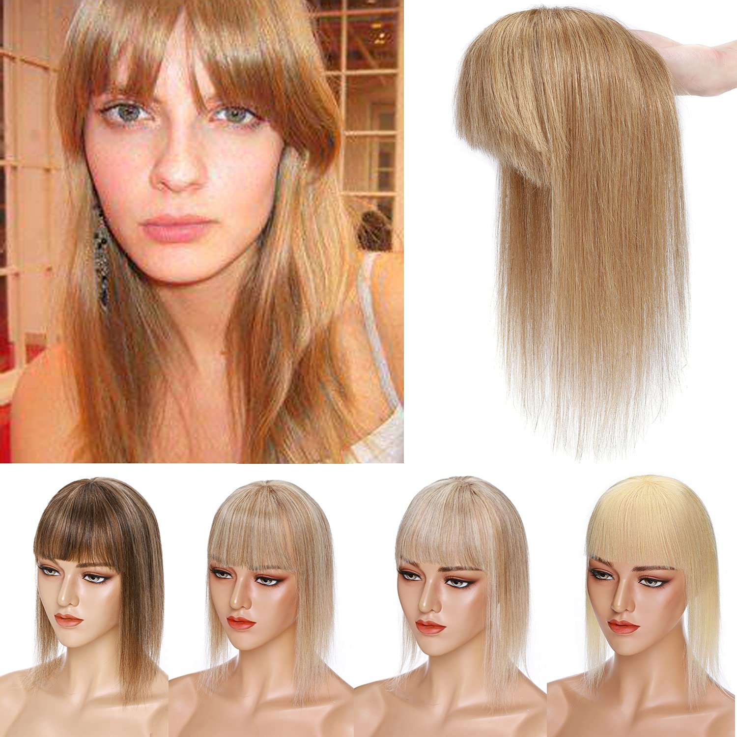 S-noilite Mono Classic Base Topper Hair San Antonio Mall Human with Bangs for Piece
