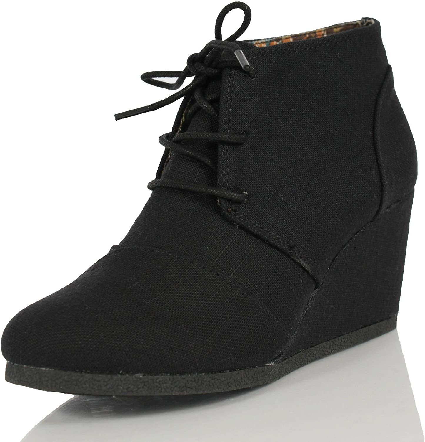 Nature Breeze Rex Lace Up Ankle Bootie Wedge,Black Linen,7