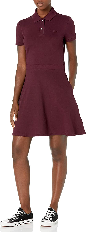 Lacoste Women's Short Sleeve Slim Fit Banded Waist Polo Dress