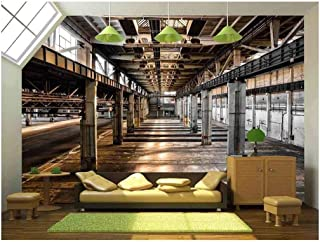 wall26 Abandoned Old Vehicle Repair Station - Removable Wall Mural   Self-Adhesive Large Wallpaper - 100x144 inches