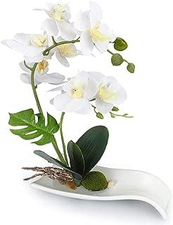 YOBANSA Orchid Bonsai Artificial Flowers with Imitation Porcelain Flower Pots Phalaenopsis Fake Flowers Arrangements for Home Decoration(White 3)