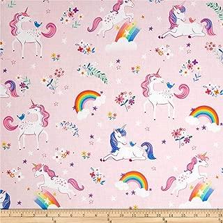 Robert Kaufman 0540121 Kaufman Happy Little Unicorns Rainbows/Pink Fabric by The Yard