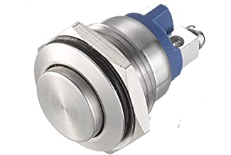 API-ELE 16mm Momentary Push Button Switch High Round Cap Waterproof Stainless Steel High Flush Screw Terminals 250V AC 5A 12V 36V DC 2A 1NO SPST [3 Year Warranty]