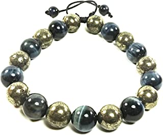 AURAS BY OSIRIS - Handmade Pyrite And Blue Tiger Eye Beaded Bracelet For Men and Women - Adjustable - Posiitive Energy - Good Luck