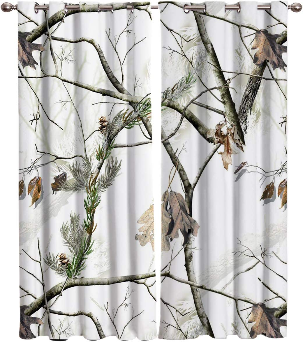 Blackout Curtains Thermal Insulated White 新作 大人気 D Camouflage 結婚祝い Camo Room
