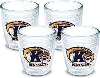 Tervis 1044721 Kent State Golden Flashes Logo Tumbler with Emblem 4 Pack 12oz, Clear
