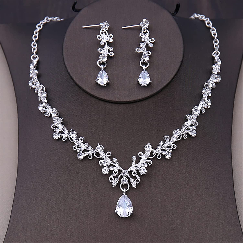 YUANBOO Luxury Crystal Heart Wedding Jewelry Sets Rhinestone Crown Tiara Choker Necklace Earrings Bridal Dubai African Beads Jewelry Set (Metal Color : 2Pcs Jewelry Set)