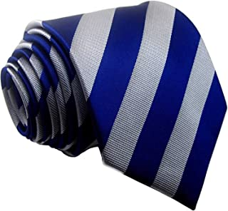 Men's Classic Blue Grey Striped Tie Woven 100% Silk Neckties For Wedding Party