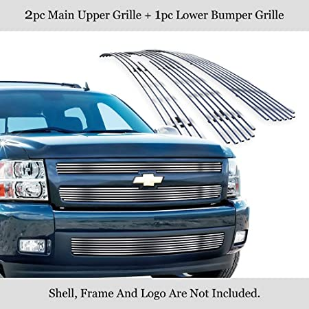 APS Compatible with 2007-2013 Chevy Silverado 1500 Billet Grille Grill Insert #S18-A66756C