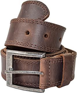 Men's Two Row Stitch Leather Belt Handmade by Hide &...