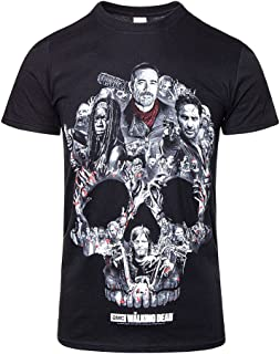 Walking Dead Skull Montage Negan Daryl Dixon Zombie Official Black Mens Tshirt
