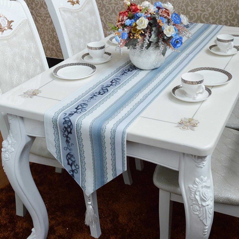 Unbekannt ERRU-Tischläufer Tischläufer europäischen Stil Tischdecke mediterranen hellblau grau gestreiften Stoff Couchtisch Läufer Tischdecken (größe   30  220cm) B07BPCYMNF Schenken Sie Ihrem Kind eine glückliche Kindheit  