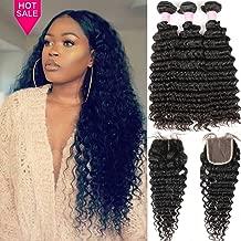 Brazilian Deep Wave 8A Unprocessed Virgin Hair 3 Bundles with Middle Part Lace Closure 4×4 Lace Mixed Length Hair Bundles Natural Color or Black Women (28 28 28+20)