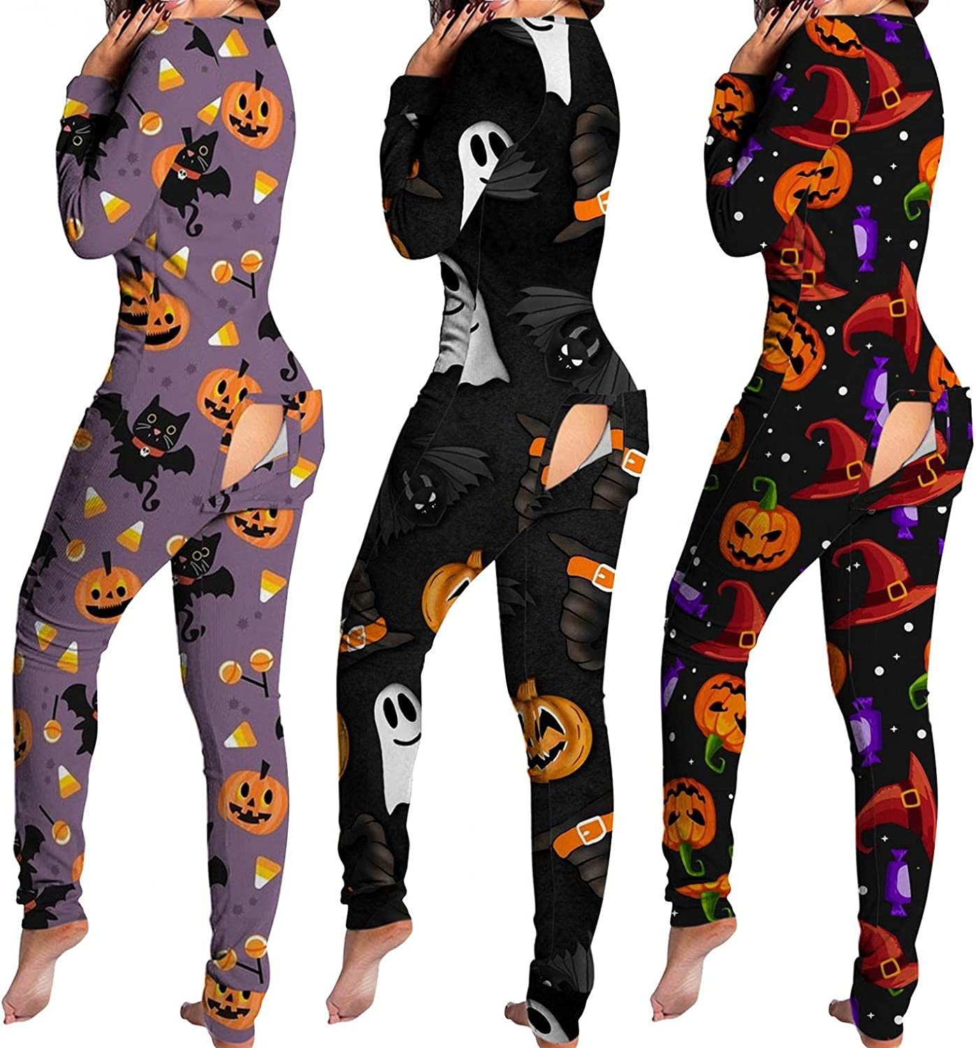 Lingbing Halloween Jumpsuits for Women, Funny Pumpkin Black Cat Print Costumes Sexy V Neck Bodysuits Button Down Pajamas