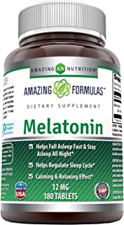 Amazing Formulas Melatonin 12 Mg 180 Tablets - Helps Fall Asleep Fast, Regulate Sleep Cycle - Calming & Relaxing Effect -Non-GMO - Gluten-Free (180 Count - Pack of 1)